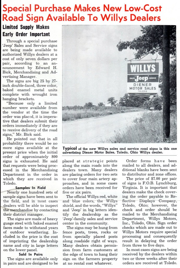 1956 August issue Road Sign