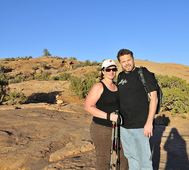 Hiking to Delicate Arch in Arches National Park.