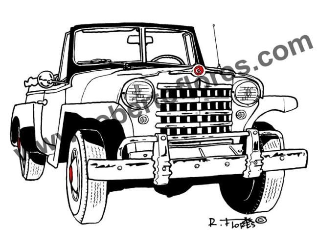 dibujo_drawing_b&n_1950_jeepster_negro_rojo