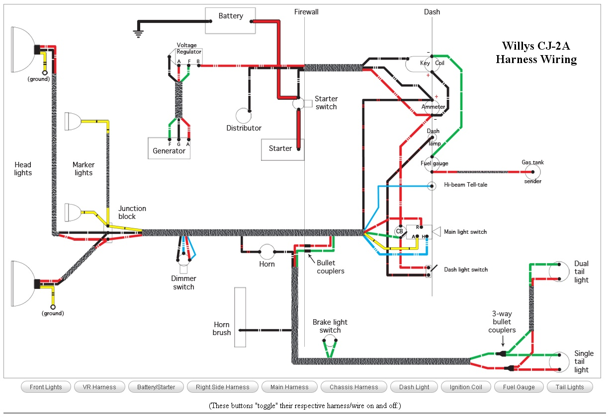 CJ 2A_Wiring wiring schematics ewillys 12 Volt Alternator Wiring Diagram at bayanpartner.co