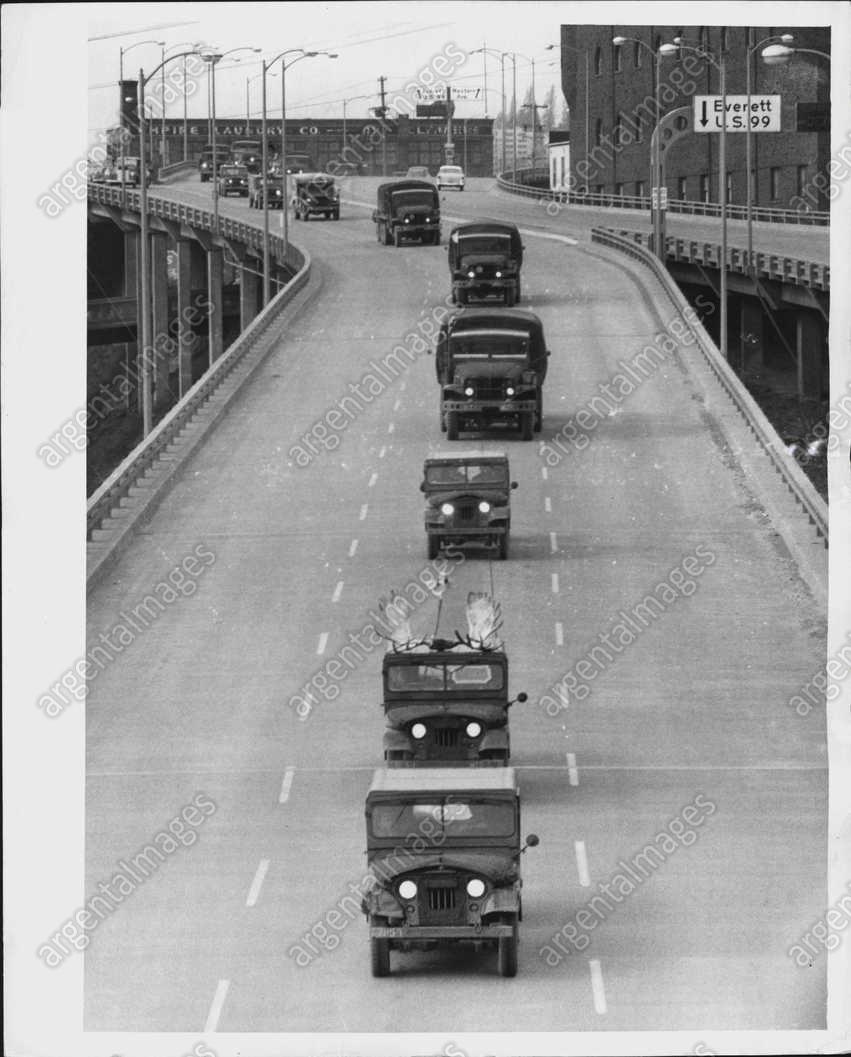 1956 Photo Of Convoy On Seattle's Alaskan Way Viaduct On