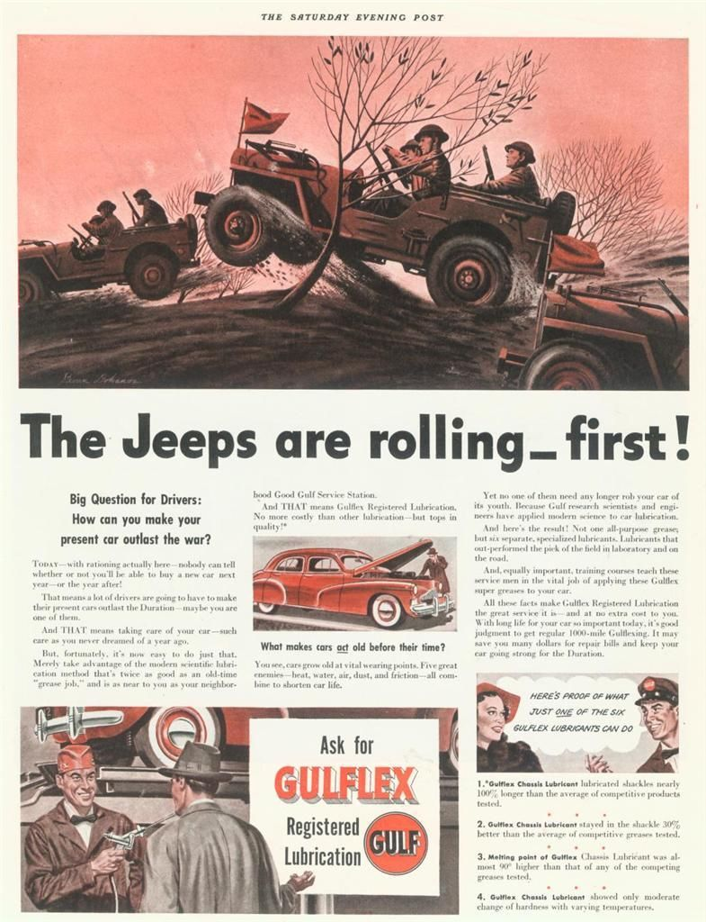 1942 Gulflex Ad in Sat Evening Post on eBay | eWillys