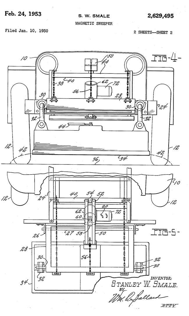 1950-01-10-stanely-smale-magnetic-sweeper-patent2