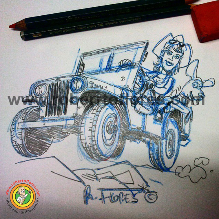 doodle_drawing_sketch_willys_jeep_cj2a__girl_chick_mujer_chica_perro_1