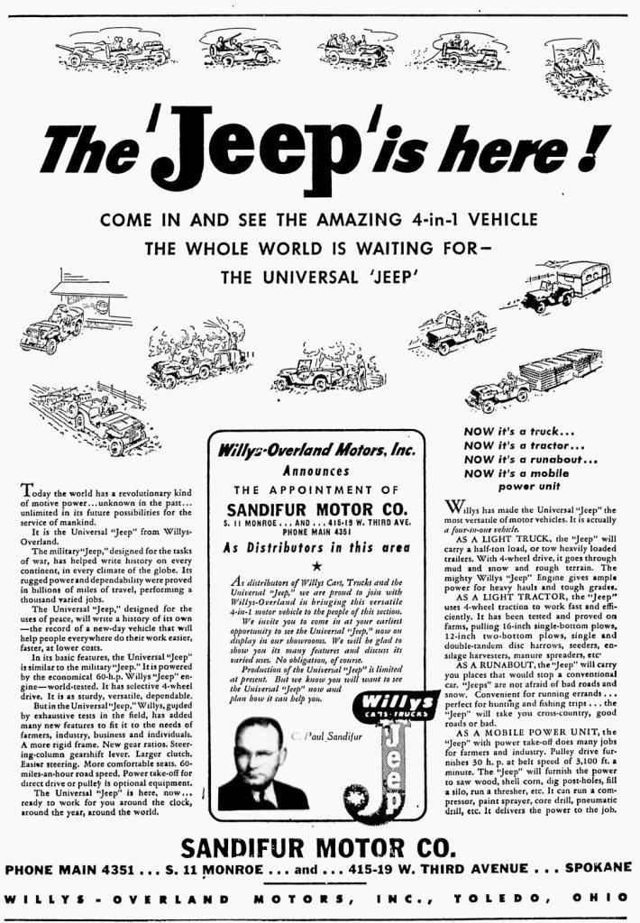 1945-10-21-spokesmanreview-sandifur-ad