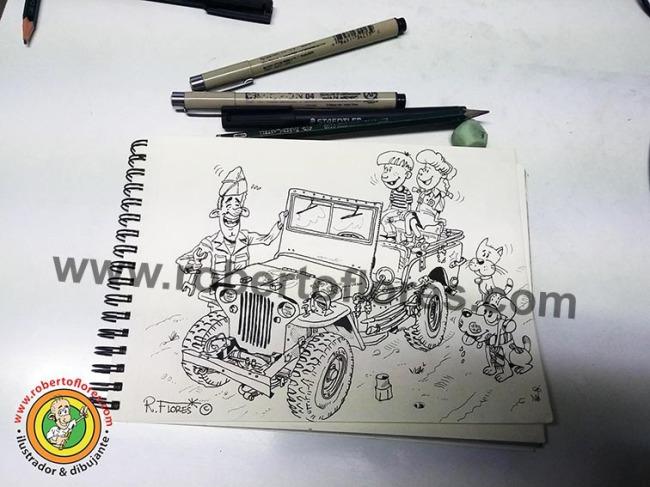 caricatura_dibujo_doodle_jeep_willysmb_niños_1_web