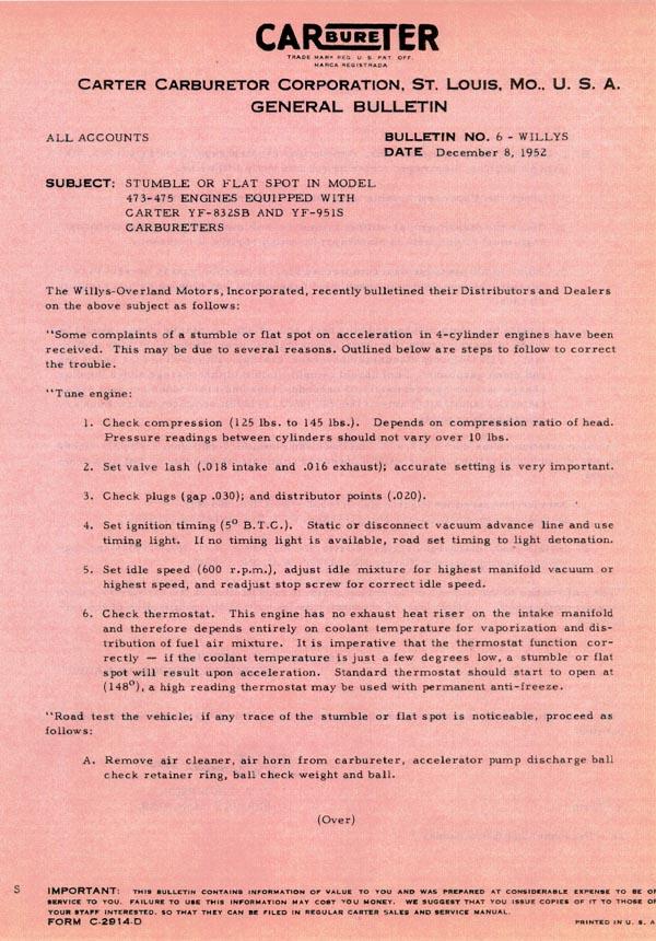 Carter Carburetor Corporation General Bulletin pg1