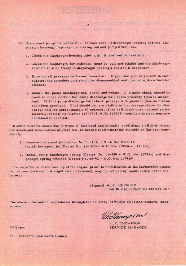 Carter Carburetor Corporation General Bulletin pg2