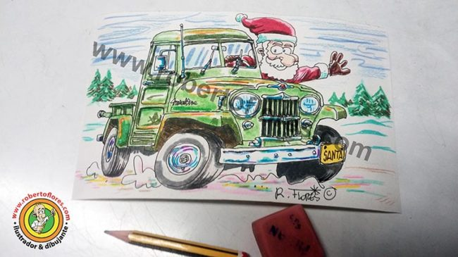 boceto_doodle_gribouillage_ziriborro_willys_jeep_pick_up_1950s_santa_navidad_2016
