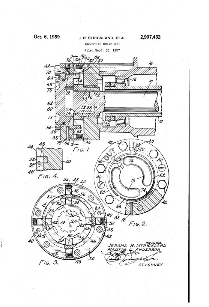 free-lock-hub-patent-1957