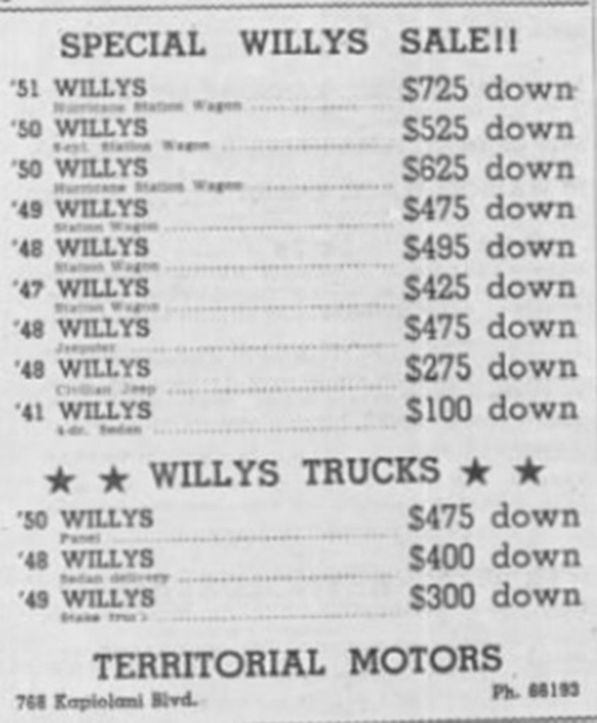 Willys ad - Honolulu, Hawaii
