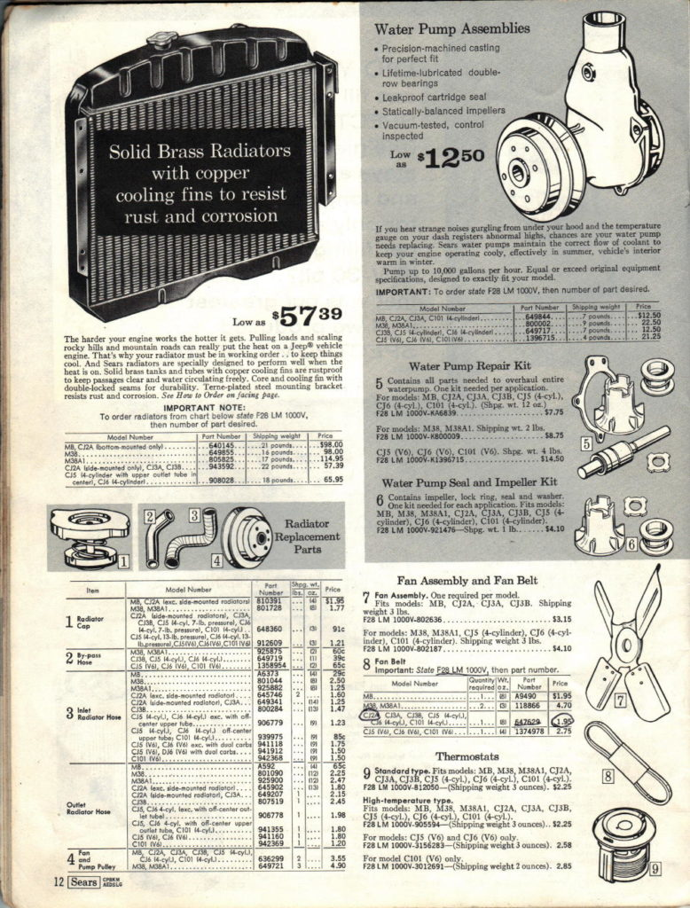 SEARS CATALOG COOLING