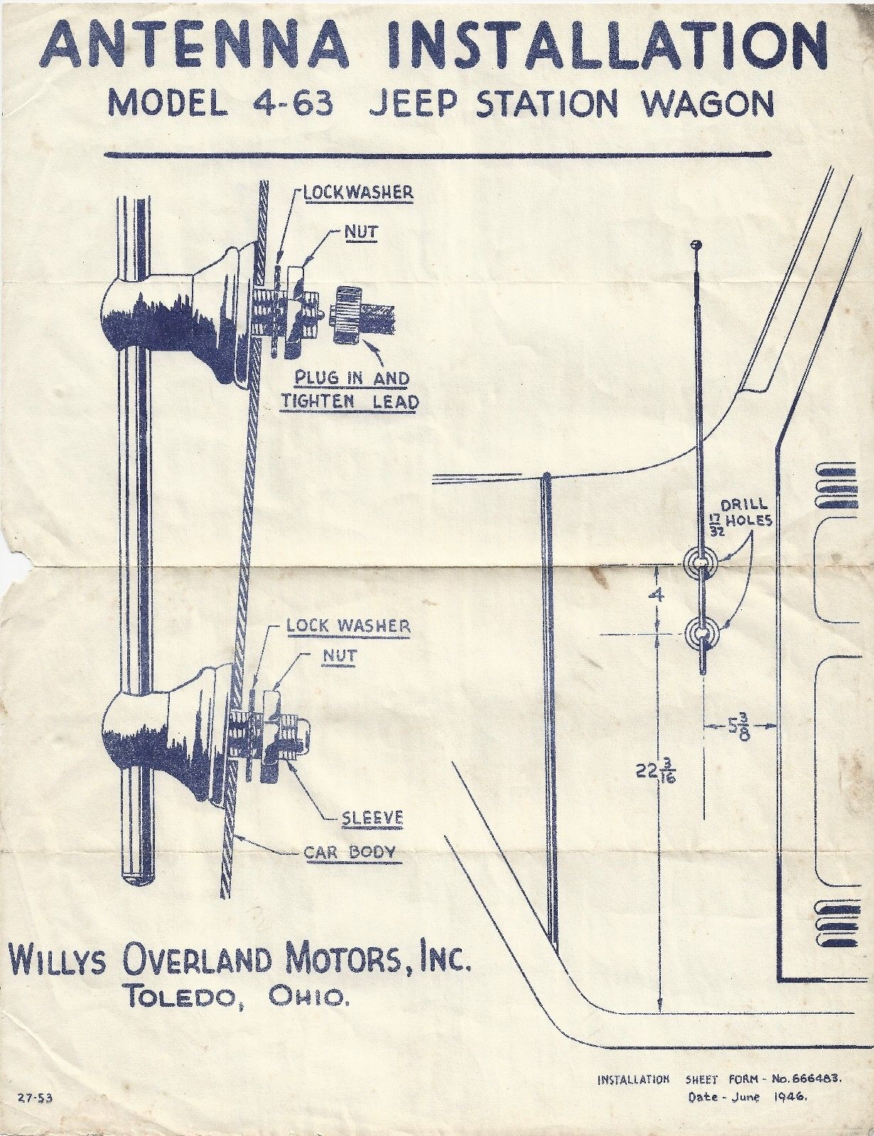Willys Station Wagon Wiring Diagram Free Download 1981 Xs650 Rephased 1946 Antenna Installation On Ebay Ewillys Also With Starter Motor Furthermore Document