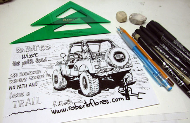 cartoon_doodle_boceto_caricatura_dibujo_willys_jeep_cj3a_fourwheelermagazine_ocotillowells_sandiego_california_usa_1_web