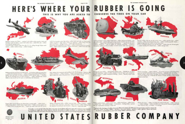 1942-08-15-sat-evening-post-heres-where-your-rubber-is-going-pg48-49-rubber-company-ad