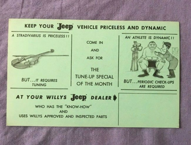 mailer-stradivarius-violin-checkup-jeep-postcard