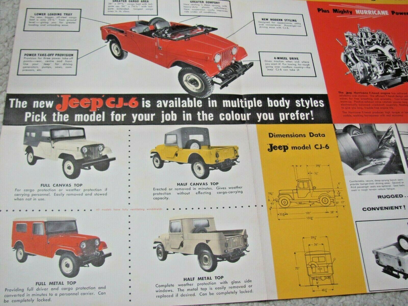1962 JEEP CJ-6 UNIVERSAL ORIGINAL FOLDER BROCHURE 62 SALES CATALOG