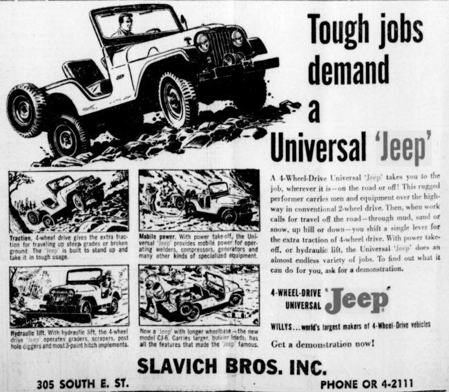 1957-03-15-madera-tribune-slavich-bros-universal-jeep-ad