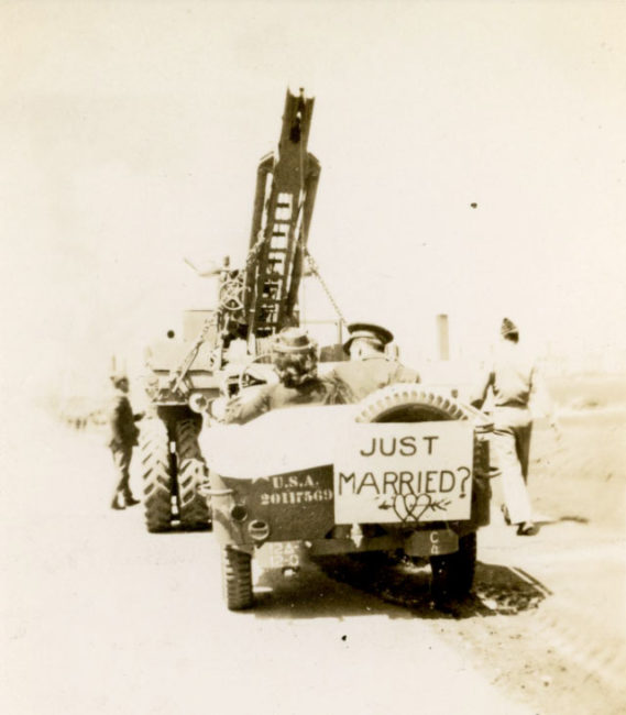 1943-04-24-just-married-getting-towed1