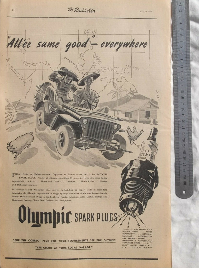 1946-05-29-the-bulletin-australia-jeep-olympic-spark-plug-ad