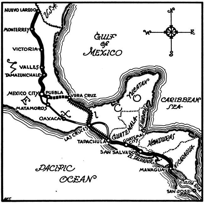 1947-driving-to-mnagua-nicarauga-william-f-baggerman-map