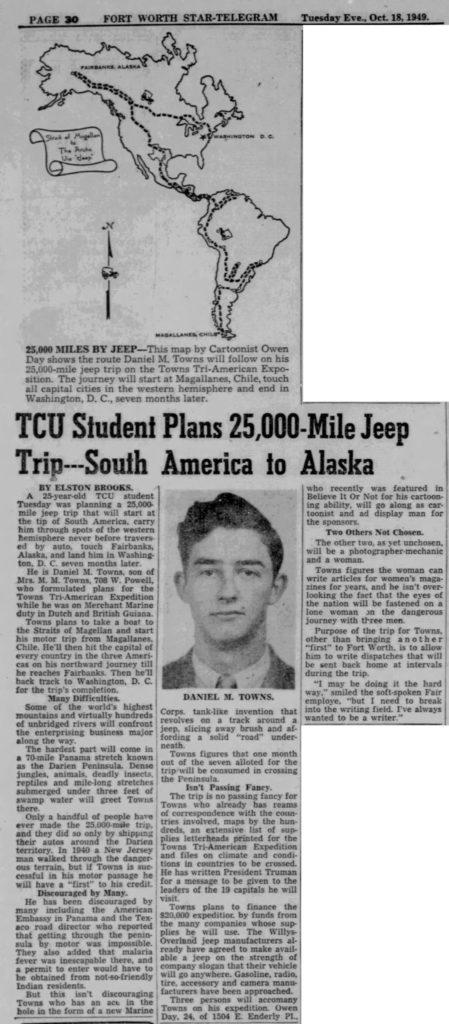 1949-10-18-fort-worth-star-telegram-jeep-trip-SA-to-Alaska-lores