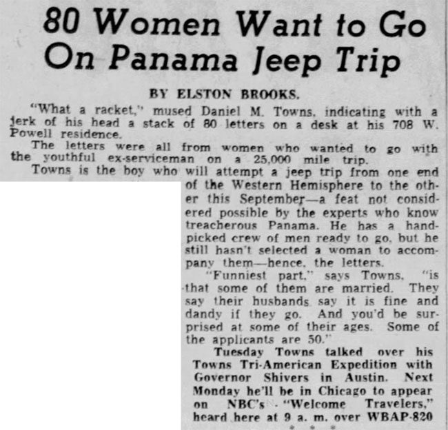 1950-05-26-fort-worth-star-telegram-jeep-trip-SA-to-Alaska