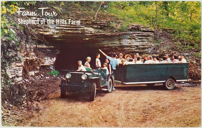 petes-cave-shepherd-of-the-hills-postcard-jeep1