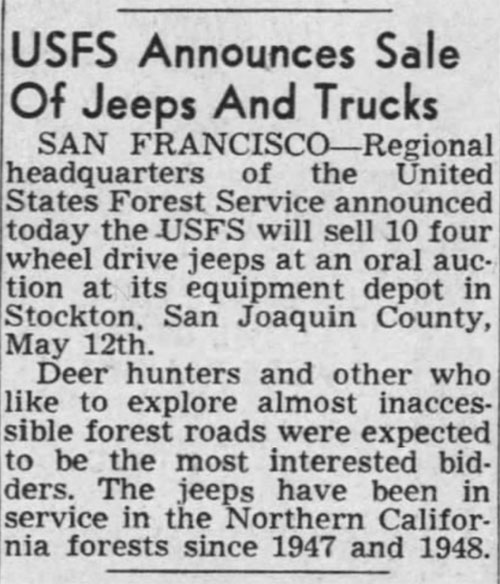 1954-05-05-sacramento-bee-USFS-jeeps-auction
