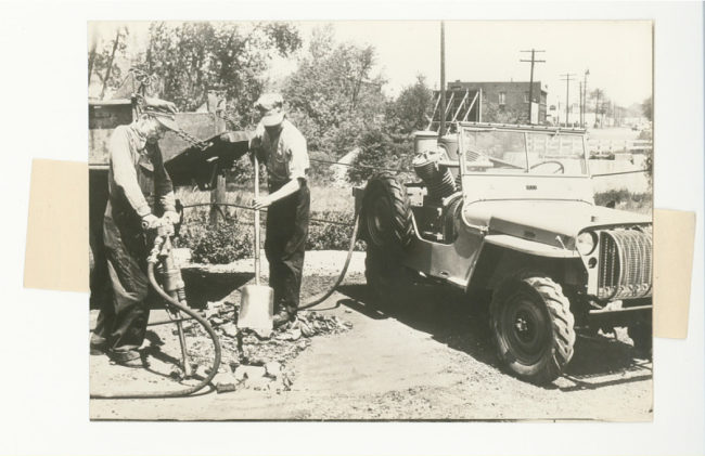 Gelatin silver print, civilian uses for a Jeep - pneumatic tools, 1945-1946. 2013.0327.1256.